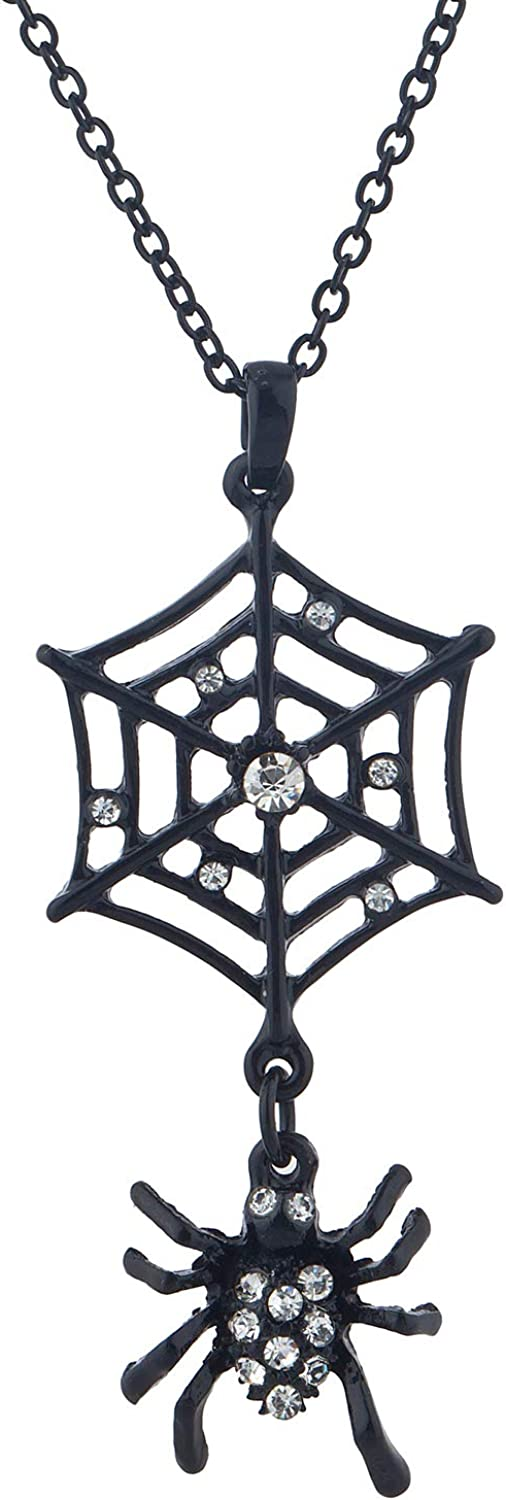 LUX ACCESSORIES Black Spider Little Tiny Web Crystal Rhinestones Chain Necklace