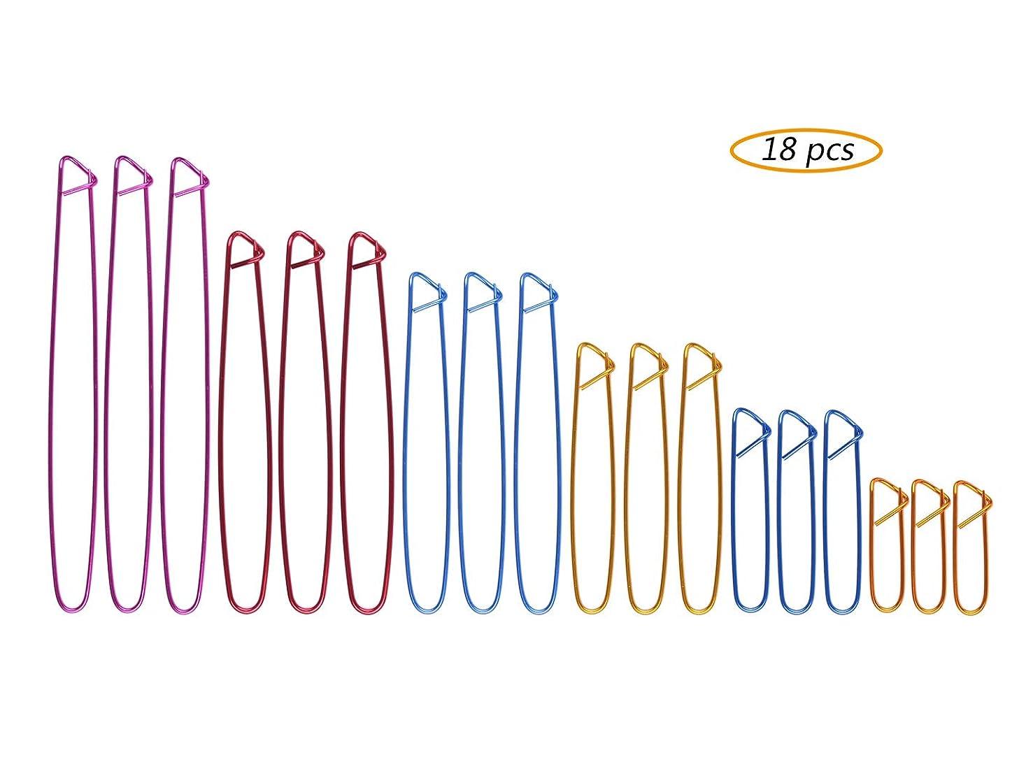 18 PCS Knitting Stitch Holders - Yarn Stitch Holder Set for Knitting Notions/Crochet Needle Aluminum Stitch Holders Safety Pins, 6 Sizes, Assorted Colors