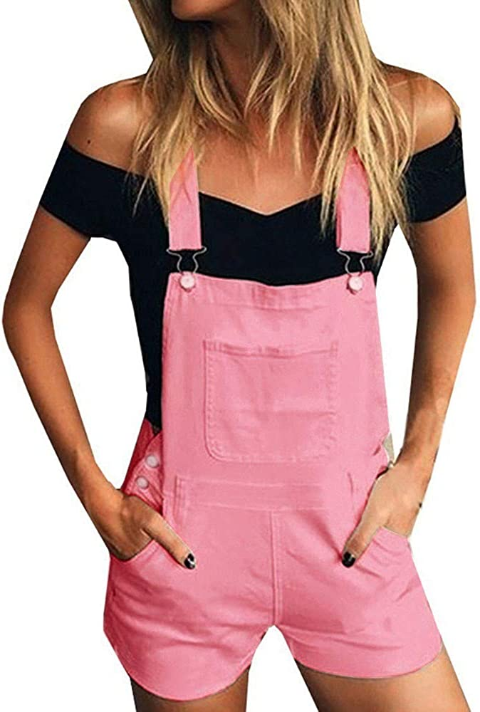 Beshion Women's Casual Adjustable Strap Loose Denim Bib Hole Pants Overalls Jeans Demin Shorts Jumpsuit and Rompers