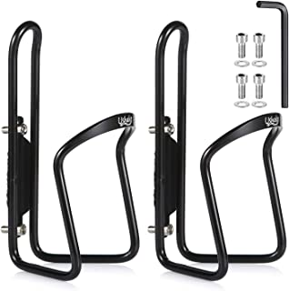 UShake Water Bottle Cages, Basic MTB Bike Bicycle Alloy Aluminum Lightweight Water Bottle Holder Cages Brackets(2 Pack- Drilled Holes Required)