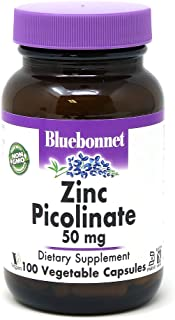 Bluebonnet Nutrition Zinc Picolinate 50 mg Vegetable Capsules, Best for Hormonal & Immune Health, Prostate Health, Skin, V...