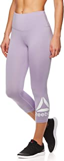 Reebok Women's High Waisted Capri Workout Leggings - Cropped Performance Compression Gym Tights
