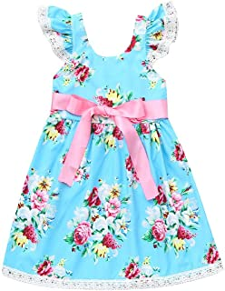 Vinjeely Baby Girls Dress Toddler Sleeveless Polka Dot Floral Printed Lace Pants Outfit