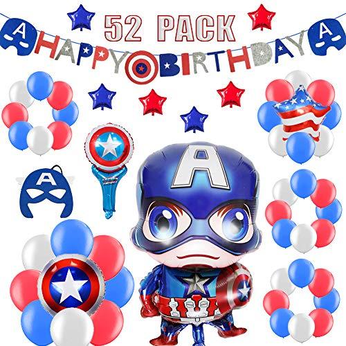 52 Stück Superheld Geburtstag Deko Set für Kinder, Sternschild Alles Gute Zum Geburtstag Girlande, Bunt Luftballons, Captain Mask, Super Kapitän Party Dekoration für 1ter, 2 - 16 Jahre Jungen