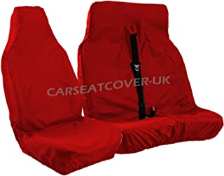 Carseatcover-UK® Heavy Duty Red Waterproof Van Seat Covers - Single + Double