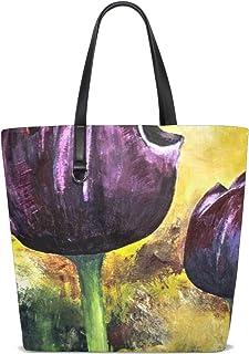 Women Painted Tulips Acrylic Paint Artistic Canvas Handle Satchel Handbags Shoulder Bag Tote Purse Messenger Bags