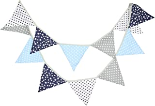 10 Feet Navy Blue Gray Nautical Party Bunting Banner for Wedding Garland Boy Girl Baby Shower Party Backrop Kids Birthday Supplies Hanging Pennant Bridal Shower Party Decoration