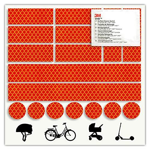Mezanin – Juego de reflectores para Bicicleta, Casco, monopatín, Coche, Moto, Patinete para niños – Mejora la Visibilidad y Seguridad – Fabricado con Cinta Diamond Grade de 3 m, Rojo
