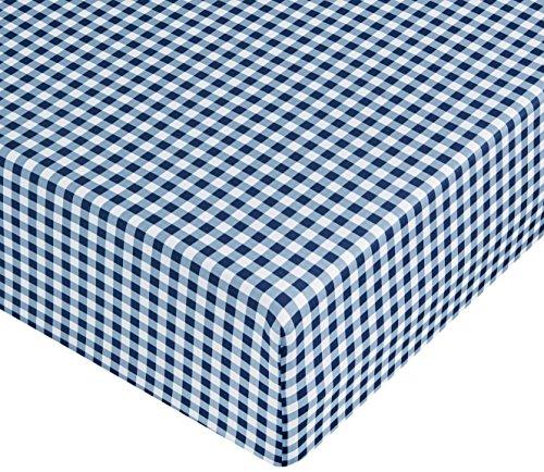 AmazonBasics FTD, Sábanas Ajustables, 180x200x30cm, Cuadros Azules
