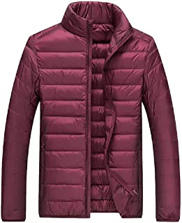 Men Winter Warm Lightweight Stand Collar Zipper Down Puffer Jackets