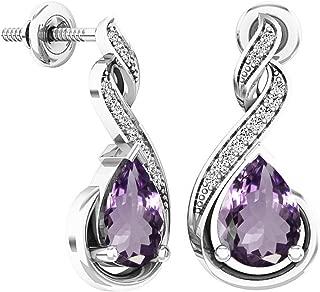 8X6 MM Each Pear Gemstone & Round Diamond Ladies Infinity Dangling Earrings, Sterling Silver