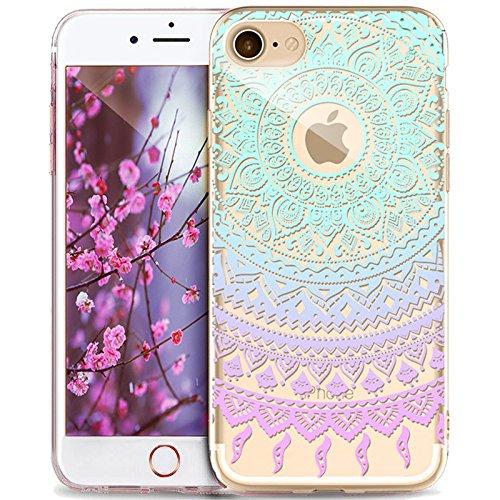 Kompatibel mit iPhone 6S Hülle,iPhone 6 Hülle,Indische Sonne Muster Handyhülle Silikon TPU Silikon Hülle Handyhülle Tasche Durchsichtig Schutzhülle für iPhone 6/6S Hülle,Mandala Spitze Blumen #7