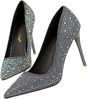 KTYXDE High-Heeled Dress Wedding Bridal Shoes Women's Court Shoes Pointed High-Heeled Diamond Rhinestones High Heels Fashion Shallow Shoes 10cm Women's Shoes (Color : Gray, Size : 37)
