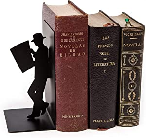 Balvi - The Reader Decorative Metal bookend in Black Colour. Original Design