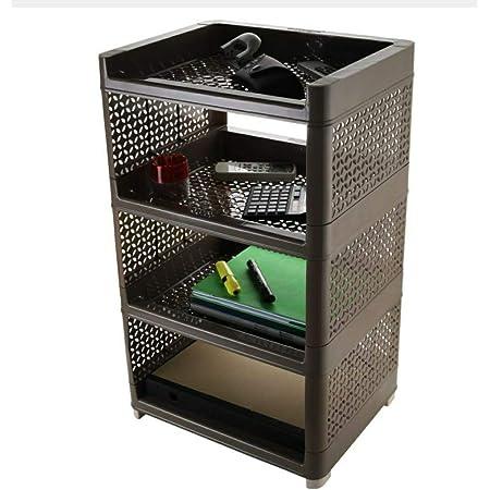 HEET Plastic 4 Layer Book Storage Display Rack Shelf Cabinet Unit Organizer for Living Room, Bed Room, Study Room (Brown)