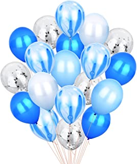 Blue Silver Confetti Balloons Agate Marble Stripe Assorted Colors Party Balloon, 12 Inch Pack of 40, Metallic Latex Balloons for Baby Shower Birthday Wedding NYE Party Decoration Supply, Blue Set