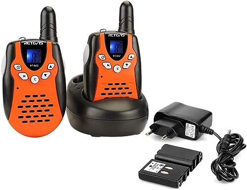 Retevis RT602 Talkie Walkie Enfants Rechargeable PMR446 8 Canaux 10 Tonalités d'Appel Verrouillage du Clavier Lampe T...