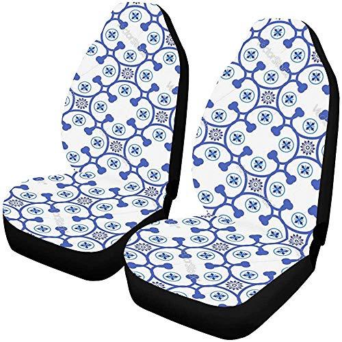 Enoqunt Autositzbezüge Azulejos Portugiesisch Traditionell Zierfliesen Vektor Fahrzeug Sitzschutz Auto Mattenbezüge