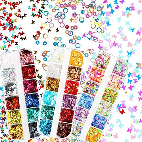 VINFUTUR 36 Farbe 3D Schmetterling Nagel Glitter Pailletten Laser Glitzer Rund Nail Art Pailletten Nagelkunst Nageldesign Nageldeko