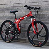 GASLIKE Bicicleta de montaña para Hombres y Mujeres, Cuadro de Acero de Alto Carbono, Bicicleta Plegable de Doble suspensión, Freno de Disco de Acero, Ruedas de 26 Pulgadas,Rojo,24 Speed