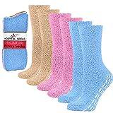 6 Pairs Non-skid Hospital Socks Fuzzy Sleeping Socks Gripper Socks For Women Men Blk/Pnk/Bge Debra Weitzner