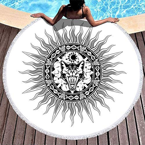 Toallas de Playa Tribal Vikings Fenrir Wolf Sun Moon Nudo de Gran tamaño Chal de Playa para Acampar, Picnic, Vacaciones