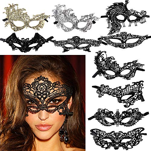 FLOFIA 10 Stück Venezianische Maske Damen Spitze Maske Lace Maske Schwarz / Gold Augenmaske für Fasching Maskerade Masquerade Halloween Karneval Cosplay Party Gothic Gesichtsmaske