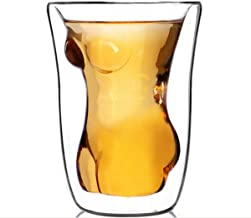 Sunshine Naked Nude Women Girl Double Layer Glass Cup Crystal Clear Shot Cocktail Beer Wine