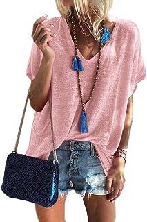 Cobamx Womens Verano Manga Corta con Cuello en V Solid Camisetas Túnica Holgada