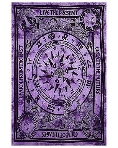 Purple Tie Dye Zodiac Horoscope Tapestry Ethnic Decorative Art Wall hanging Indian Astrology Hippie Wall art Celtic Zodiac Tapestries