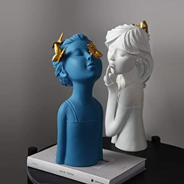 Home Decoration Statue Resin Decorative Sculpture Butterfly Girl, Modern and Creative Figurines Home Decor Art Gift (Blue)