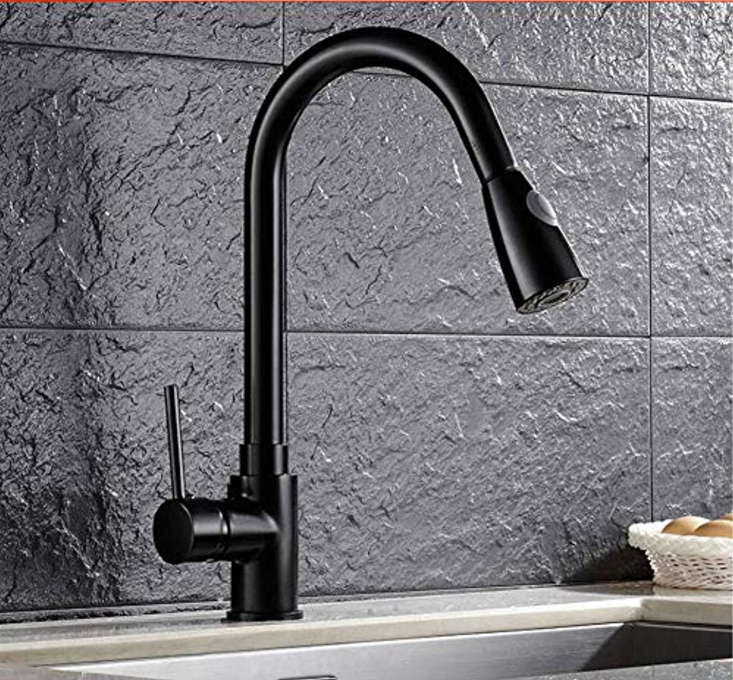 Xiehao Kitchen Pull Out Cool Black Painted Finish Flexible Hot and Cold Mixer Taps Deck Mount Swivel Faucet Ceramic Disc Basin Faucets