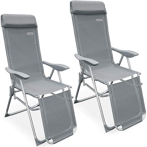 Casaria 2x Garden Reclining Chair Sun Lounger Outdoor Patio Camping Weatherproof Aluminium Deck Chair Bed Beach