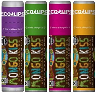Eco Lips Mongo Kiss Organic Lip Balm 4 Pack Acai Berry, Peppermint, Pomegranate, Vanilla Honey - 100 Percent USDA Organic ...