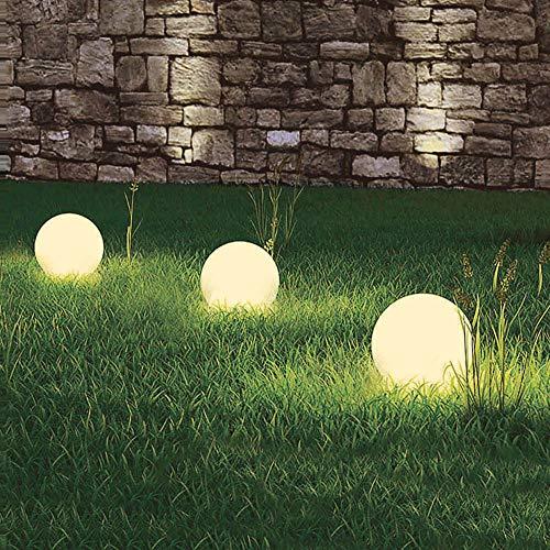 3 x LED-Solar-Außen-Garten-Kugel-Leuchte-Lampe MARLA mit Erdspieß D: 30 cm Boden-Treppen-Terrassen-Rasen-Leuchte-Lampe
