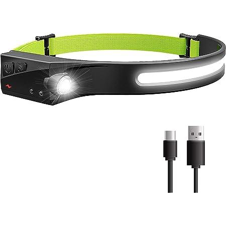 Meowtutu Stirnlampe,IPx4 Wasserdichter Stirnlampe LED Wiederaufladbarer mit Sicherheitsreflektorban,5 Modi 230 ° Weitwinkelbeleuchtung Scheinwerfer für Laufen, Angeln, Camping, Wandern