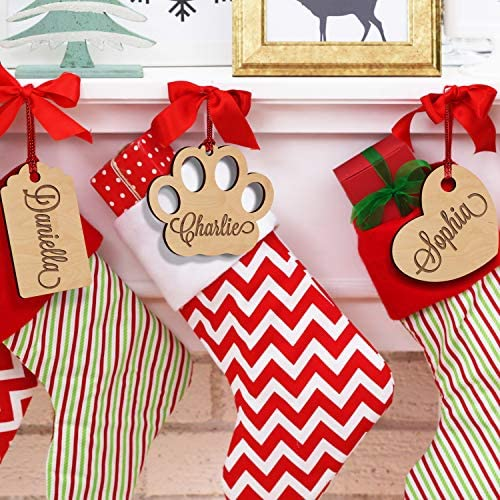 Set of 5 Christmas Stocking Name Tags Personalized X Mas Wood Letters Perfect Addition to Your product image