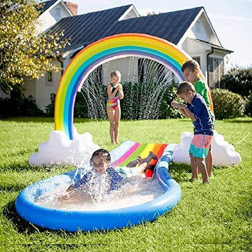 JJZXLQ Sprinkler for Kids,Inflatable Rainbow Yard Sprinkler Summer Outdoor Water Splash Toy for Kiddie Children Summer Water Sport Fun