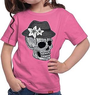 HARIZ Mädchen T-Shirt Totenkopf Mit Wiesn Hut Vintage Oktoberfest Wiesn Herzl Tracht Dirndl Lederhosn Inkl. Geschenk Karte