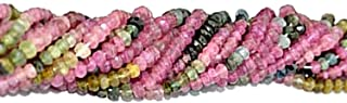 GemmartUSA Multi Tourmaline Faceted Rondelle Beads AAA Quality 1 Strand 13 Inch 3-4mm Jewelry Making Supplies (RLTM-70002)