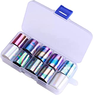 WOKOTO 10 Rolls Holographic Nail Art Foil Stickers Tips Starry Sky Adhesive nail Wraps foil transfer Manicure decals set (0.98inchs39.4inchs)