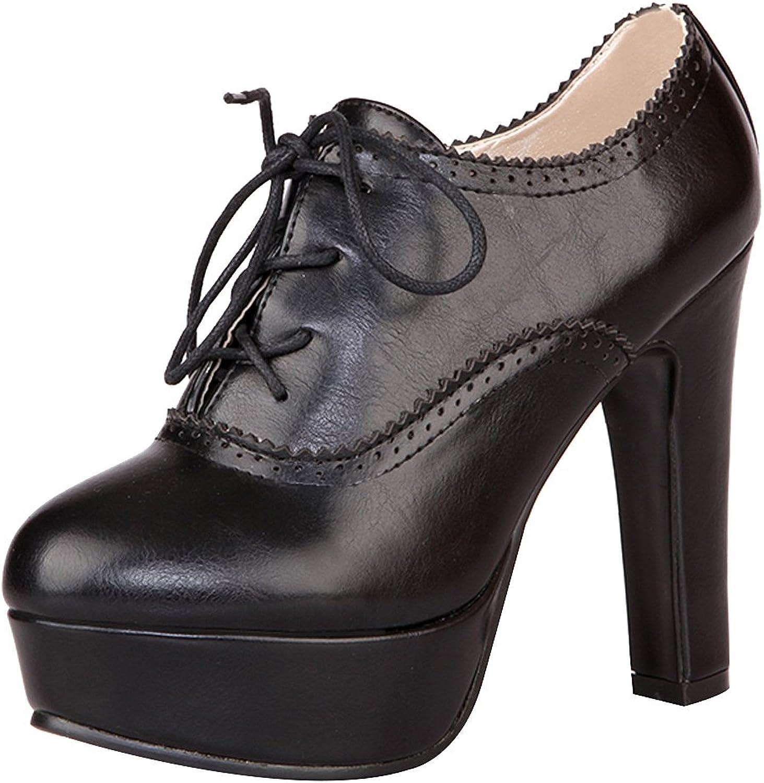 Jamron Women Elegant High Platform Block Heel Brogue Oxfords Closed-Toe Lace Up Heeled Pumps Big Size