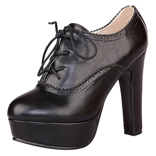 ea5873f4 Jamron Mujer Vendimia Plataforma Alta Tacón de Bloque Zapatos de la Corte  Elegante Brogue Oxfords/