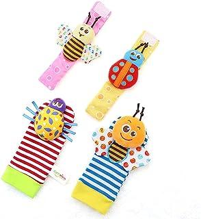 4Pcs Baby Rattle Socks Toy Set Wrist Rattle and Foot Finder Socks Set Developmental Toys Gift for Newborns JB-Tong