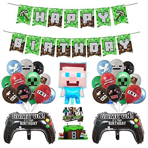 smileh Gaming Cumpleaños Decoracion Globos Pancarta de Cumpleaños de Pixel Para Fiestas Adornos para Pastel Videojuegos Decoraciones
