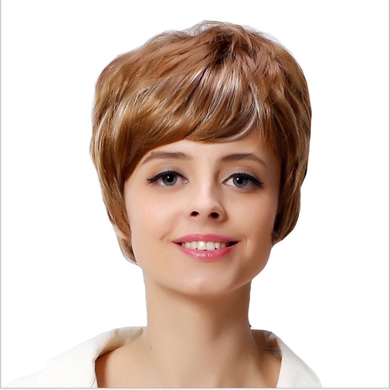 追加する薬剤師顔料Koloeplf 女性のための10inch / 12inchショートウェーブゴールドウィッグ白い女性のためのフラットバンズヘアとカーリー耐熱ウィッグ180g (サイズ : 10inch)