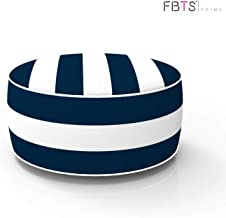 FBTS Prime Outdoor Inflatable Ottoman Navy and White Stripe Round 21×9 Inch Patio..