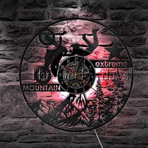 Extreme Mountain Motorsport Riding Exclusive Wall Clock Motorbike Vinyl Record Wall Clock Modern Wall Art Decor Gift Idea