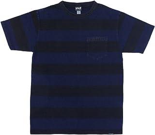 (ショット) Schott 3183008 インディゴ ボーダー ポケット Tシャツ