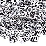 Wohlstand 100 pezzi ciondolo cuore argento antico fatto con amore ciondolo ciondolo fatto con amore ciondolo cuore perline placcato argento per artigianato